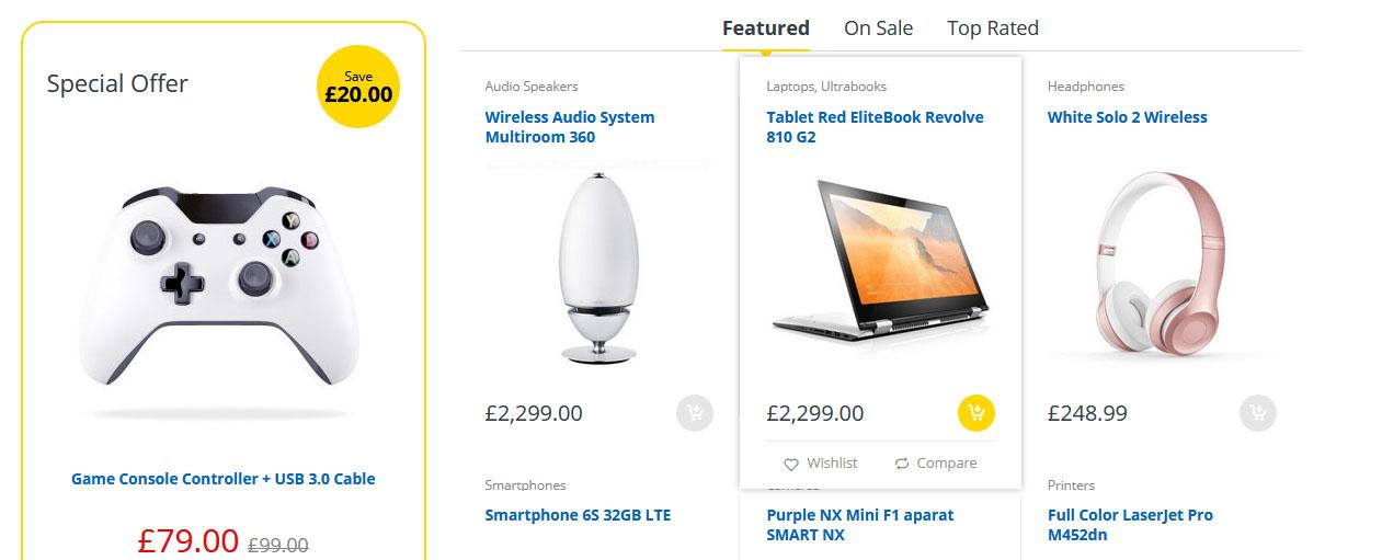 tampilan menu produk toko online