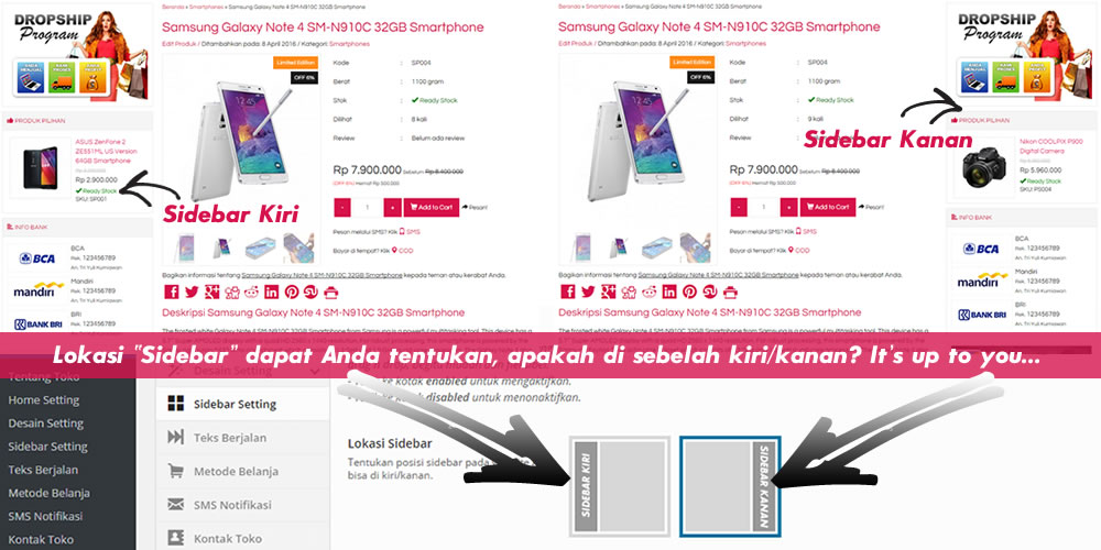 detail produk pada website toko online