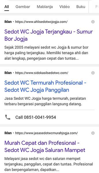 Contoh Iklan Website Sedot Wc di Jogja