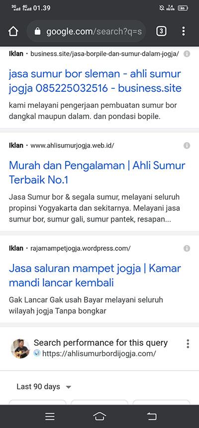 Contoh Iklan AdWords Website Sumur Bor Jogja